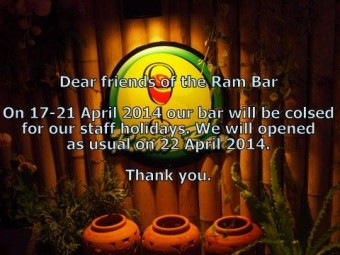 Ram Bar Closed for holiday