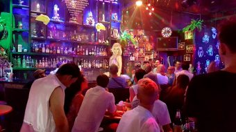 diva on the bar at gay cabaret show