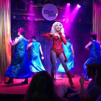 glittering blue costumes at Ram Bar Cabaret show